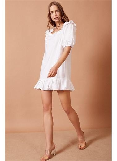Never More Balon Kollu Fırfır Detaylı Beyaz Elbise Beyaz